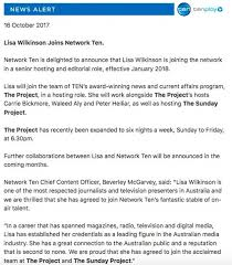 network ten chief content officer beverley mcgarvey expressed pride in signing ms wilkinson in a statement