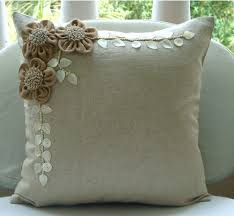 Jute Blooms - Throw Pillow Covers - Inches Linen Pillow Cover with Jute  Embroidery