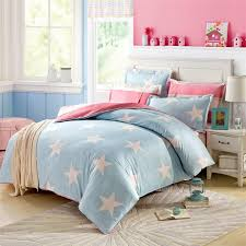 white stars on sky blue bedding sets cotton queen size reverse duvet cover pink white striped flat sheet 2 pillowcase twin size bedding sets black and