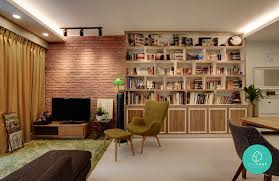 Bookshelf feature wall! Design-Practice-Punggol-Livingroom
