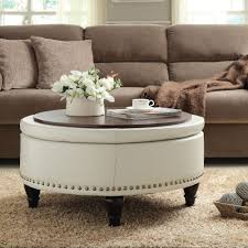 round leather ottoman. Small Leather Ottoman Coffee Table Black And White Dark Brown Upholstered Leopard Fabric Storage Red Navy Furniture Round With Foot Square On Wheels Bedroom
