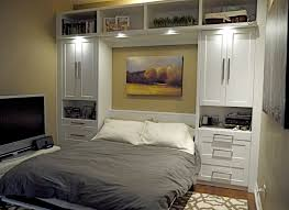 Built In Bed Plans Elegance Modern Murphy Bed With Grey Quilt And White Tv Table Also