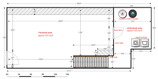 first of all this is the layout of my basement as you can see cur duct runs along right wall almost the length of the basement