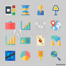 Push Stock Chart Icons About Business With Push Pin Bar Chart Manager Lamp