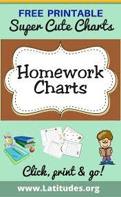 Free Homework Chart Free Printable Homework Charts For Kids Behavior Charts