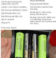 Combo 2 Pin 3.7v 18650 dung lượng 3400mah dòng xả 1C pin 2 đầu phẳng dùng  cho đèn pin sạc dự phòng