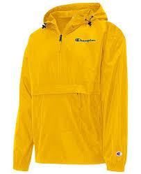 Mens Packable Half Zip Hooded Water Resistant Jacket