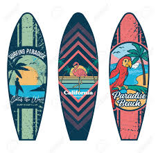 How To Design A Surfboard Set Surfboard Print Design For Surfing Ride Or Decor Sport Vacation