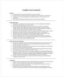 Resume Career Summary Example Create Photo Gallery For Website
