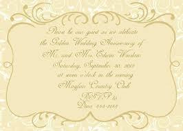 Golden Wedding Anniversary Invitation Invitations Templates Free