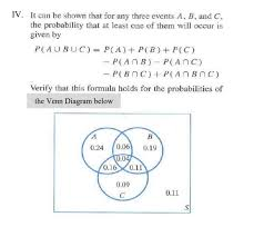 Probability Of A Given B Venn Diagram Solved Iv It Can Be Shown That For Any Three Events A B