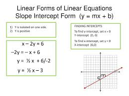 linear forms of linear equationsslope intercept form y mx b finding intercepts