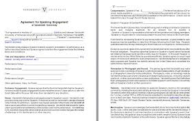 Speaker Engagement Contract - Free Sample Example Form - Word And ...