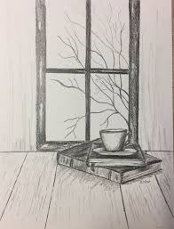 pencil drawing original pencil sketch still life coffee and books fall scene not a print ilration sketch homedecor