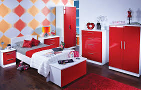 Red And White Bedroom Set