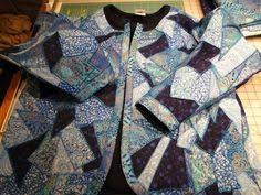 No Sew Quilted Jacket Sewing Pattern embellish a sweatshirt into a ... & Quilted jacket from old sweatshirts. An example of crazy quilt patchwork on  a sweatshirt opened to form one piece, including the neck ribbing. Adamdwight.com