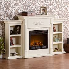 southern enterprises tennyson ivory electric fireplace with bookcases com