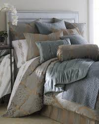 fino lino linen lace tiara bedding luxuriously soft bedding in slate blue and brown