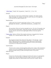 Finial Annotated Bibliography For Albert Camas Albert Camus