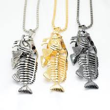 whole new hot fish bone fishing hook pendant necklaces punk black gold silver color chain personality men jewelry holiday gift pendant necklace