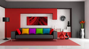 modern furniture living room color. colorfull cushion red accent living room wall paint color clock black leather sofa minimalist design modern furniture