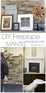 diy stack stone fireplace makeover with dover gray mantel great mix of rustic modern decor