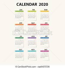 One Sheet Calendar 2020 2020 Calendar Template Calendar 2020 Set Of 12 Months Yearly Calendar Vector Design Stationery Template Vector Illustration
