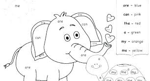 Coloring Pages Coloring Exercises For Kindergarten Sight Word Page