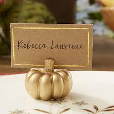 Fall Place Cards Gold Pumpkin Fall Place Card Holder Set Of 6 Kate Aspen