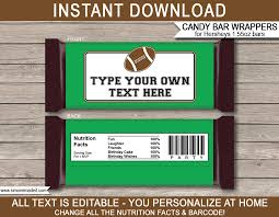 Personalized Candy Bar Wrapper Template Football Hershey Candy Bar Wrappers Template