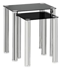 nest of 2 tables black glass