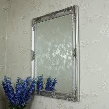 ornate silver wall mirror 106cm x 76cm