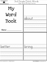 3rd Grade Sight Words Dolch My Word Book Third Grade Dolch Sight Words Writing Practice