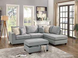 f6543 light gray 3 pcs sectional sofa