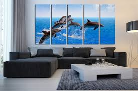 5 canvas wall art living room multi panel canvas dolphin canvas print blue on dolphin canvas wall art with 5 piece huge canvas print dolphin canvas photography fish canvas