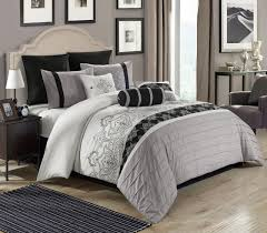 piece temsia graywhiteblack comforter set
