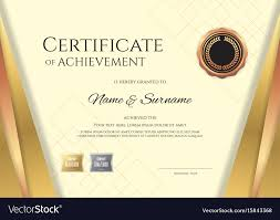 Luxury Certificate Template With Elegant Golden