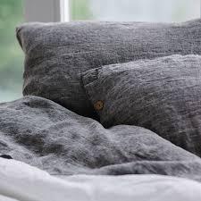 dark grey linen pillow sham with ons