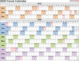 Fiscal Calendars 2020 Free Printable Excel Templates