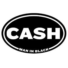 <b>Johnny Cash Man</b> in Black Oval Sticker Decal - Bryan R. Eddieger