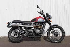 used triumph scrambler motorbike petrol in sunset red platinum