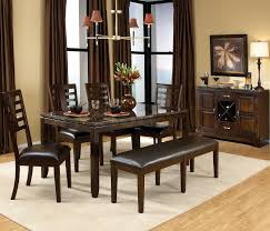 furniture brown curtains of dining room with table chair bench set and white rug sets seating