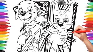Paw Patrol Super Pups Coloring Pages How To Color Chase Marshall