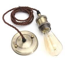 kingso vintage hanging pendant light kit modern retro industrial style e26 e27 base brass lamp holder