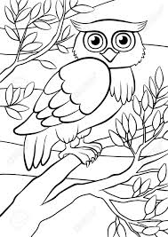 Have your imagination go wild and wide. Coloring Pages Birds Cute Owl Sits On The Tree Royalty Free Cliparts Vectors And Stock Illustration Image 56471390
