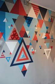 geometric wall paintGeometric Wall Mural Wall Mural D Vector Geometric D Bright U