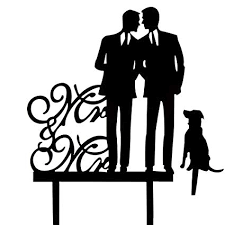 Same Sex Gay Wedding Cake Topper Mr And Mr With A Dog Cake Topper Silhouette Groom And Groom Wedding Party Decorations Same Gay Marriage Union