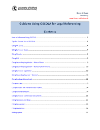 The University Of Salfords Guide To Using Oscola For Legal