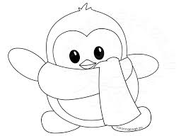 Small Picture Little Cute winter penguin Coloring Page