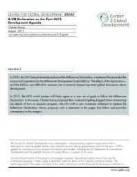 a un declaration on the post development agenda center for  a un declaration on the post 2015 development agenda